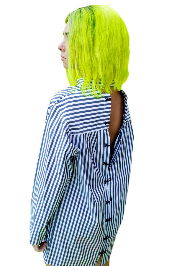 Open Back Stripes Shirt