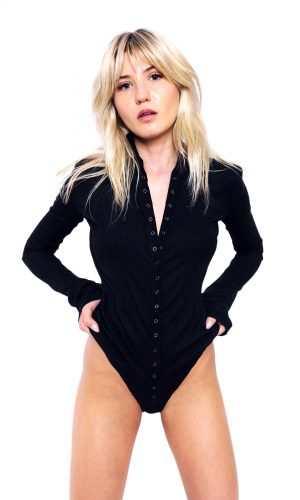 Black long sleeve bodysuit with high neck