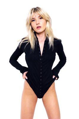 Black long sleeve bodysuit with high neck