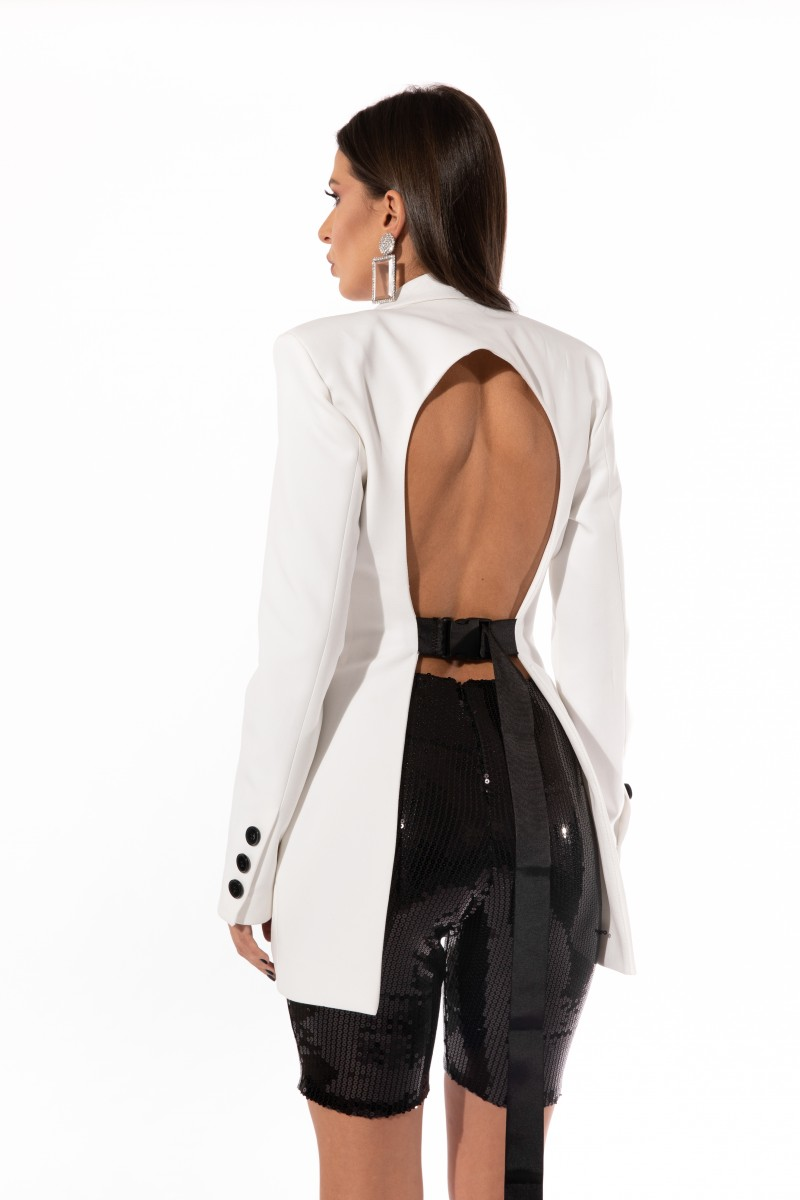 White Open Back Blazer
