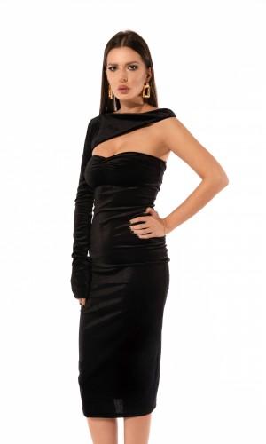 velvet asymmetric dress