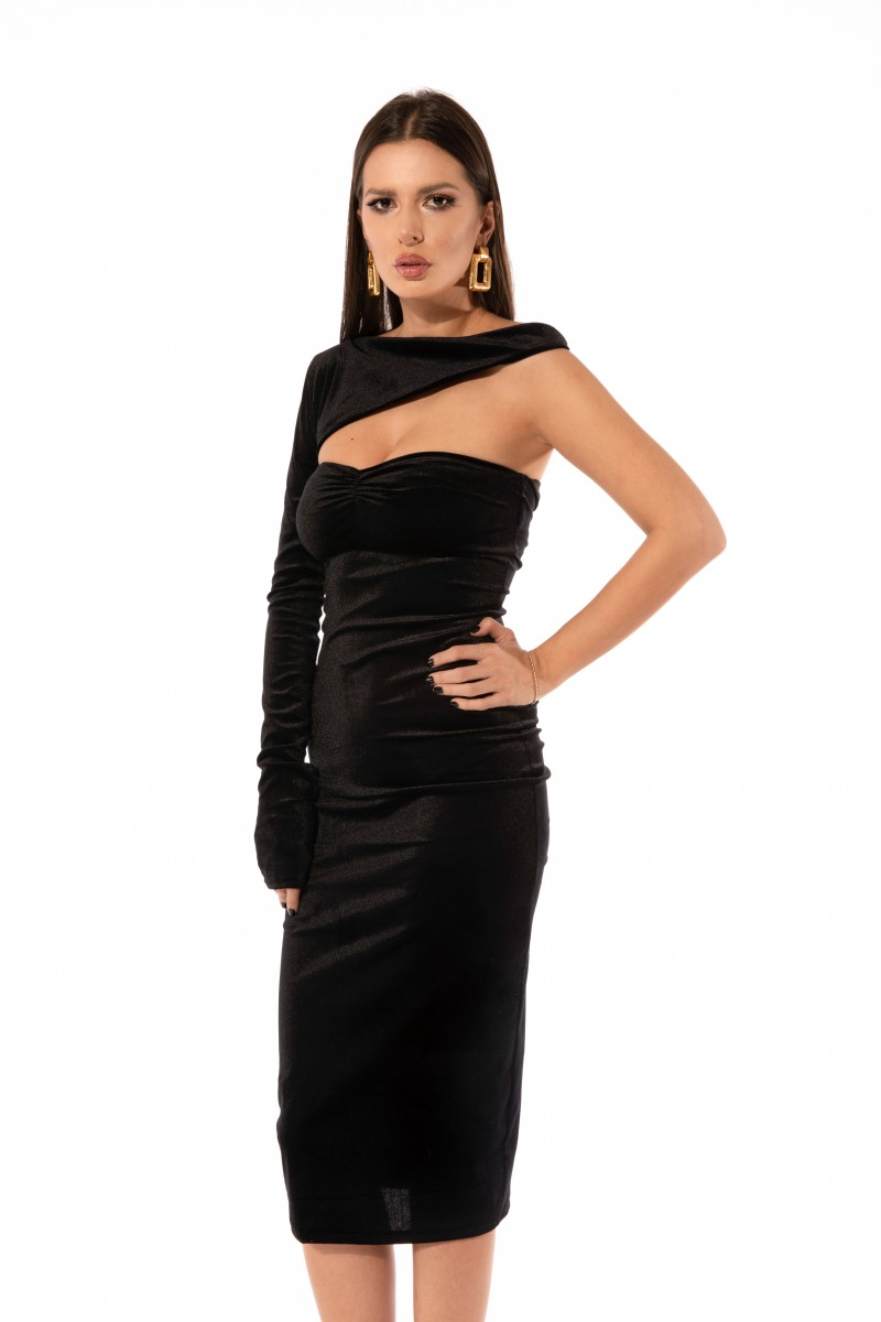 velvet asymmetric dress