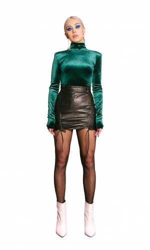 Green Velvet Turtleneck Blouse