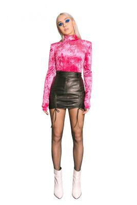 Pink Velvet Turtleneck Blouse
