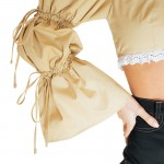 nude cropped top with puffed sleeves0