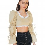 nude cropped top with puffed sleeves2